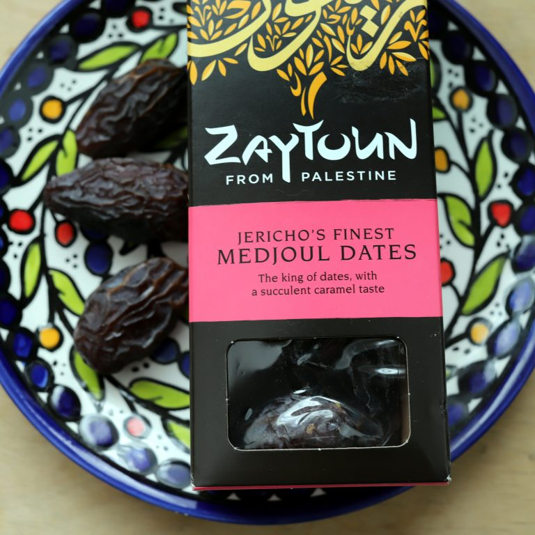 Medjoul dates on a patterned plate